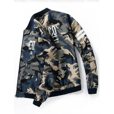 Graphic Print Camo Bomber JacketMens Jackets &amp; Coats<br>Graphic Print Camo Bomber Jacket<br><br>Closure Type: Zipper<br>Clothes Type: Jackets<br>Collar: Stand Collar<br>Crafts: Sewing<br>Material: Polyester<br>Occasion: Going Out, Casual<br>Package Contents: 1 x Jacket<br>Season: Fall, Winter<br>Shirt Length: Regular<br>Sleeve Length: Long Sleeves<br>Style: Casual<br>Weight: 0.4700kg