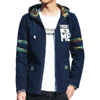 Buy PURPLISH BLUE L Camo Panel Graphic Print Hooded Jacket for $50.01 in GearBest store