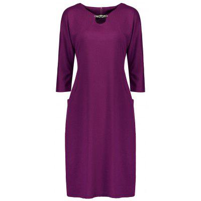 Plus Size Fitted Dress with Pockets