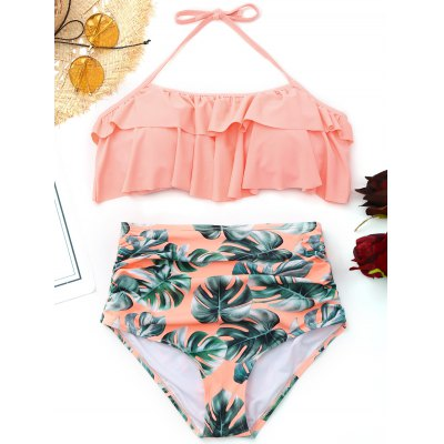 Buy PINK L Palm Leaf Ruffled High Waisted Bikini for $24.29 in GearBest store