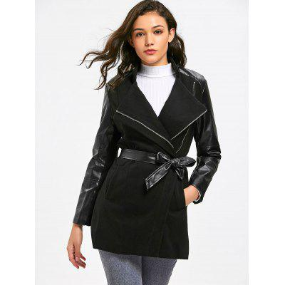 Zippered Faux Leather Panel Belted Coat