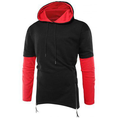 Hooded Color Block Zipper Curve Bottom Hoodie