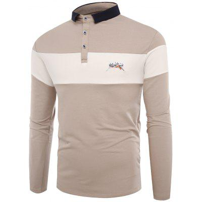 Polo Collar Buttons Color Block Embroidered T-shirt