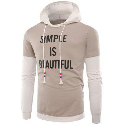 Hooded Color Block Slogan Print Hoodie