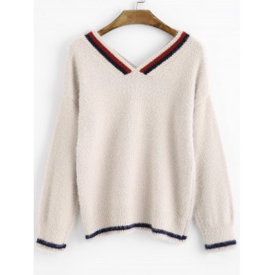 Light beige V Neck Contrasting Fuzzy Pullover Sweater ONE SIZE ...