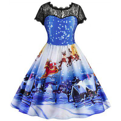 Buy BLUE XL Christmas Printed Lace Panel Vintage Dress for $23.39 in GearBest store