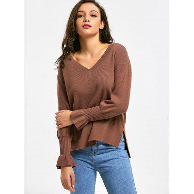 Buy COFFEE High Low Side Slit V Neck Sweater for $30.25 in GearBest store
