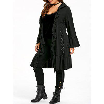 Plus Size Ruffle Lace Up Gothic Coat