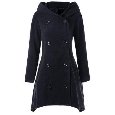 Buy BLACK L Hooded Double Breasted Asymmetric Coat for $36.32 in GearBest store