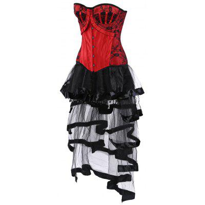 Lace Up Vintage Corset with Long Flounce SkirtLingerie &amp; Shapewear<br>Lace Up Vintage Corset with Long Flounce Skirt<br><br>Embellishment: Lace,Spliced,Vintage<br>Material: Polyester<br>Package Contents: 1 x Corset  1 x Skirt<br>Pattern Type: Others<br>Weight: 0.4100kg