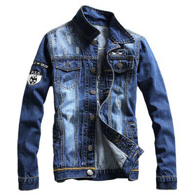 Chest Pocket Embroidered Denim Jacket