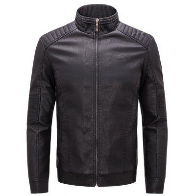 Stand Collar Warm Faux Leather Zip Up Jacket