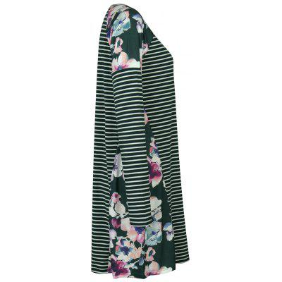 Raglan Sleeve Floral Print Striped DressWomens Dresses<br>Raglan Sleeve Floral Print Striped Dress<br><br>Dresses Length: Knee-Length<br>Material: Cotton, Polyester<br>Neckline: Round Collar<br>Occasion: Casual<br>Package Contents: 1 x Dress<br>Pattern Type: Stripe, Floral<br>Season: Fall, Spring<br>Silhouette: Straight<br>Sleeve Length: Long Sleeves<br>Style: Casual<br>Weight: 0.3300kg<br>With Belt: No