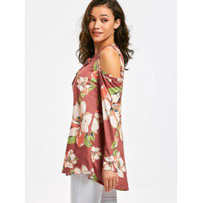 Lace Up Cold Shoulder Flower Print TeeTees<br>Lace Up Cold Shoulder Flower Print Tee<br><br>Collar: Plunging Neck<br>Material: Polyester<br>Package Contents: 1 x Tee<br>Pattern Type: Floral<br>Sleeve Length: Full<br>Style: Casual<br>Weight: 0.3450kg