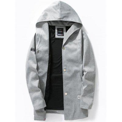 Zipper Pocket Button Up Hooded Jacket