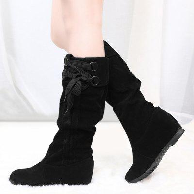 Lace Up Flat Heel Mid Calf BootsWomens Boots<br>Lace Up Flat Heel Mid Calf Boots<br><br>Boot Height: Mid-Calf<br>Boot Type: Fashion Boots<br>Closure Type: Lace-Up<br>Gender: For Women<br>Heel Height Range: Flat(0-0.5)<br>Heel Type: Flat Heel<br>Package Contents: 1 x Boots (pair)<br>Pattern Type: Solid<br>Season: Spring/Fall, Winter<br>Shoe Width: Medium(B/M)<br>Toe Shape: Round Toe<br>Upper Material: Suede<br>Weight: 1.3800kg