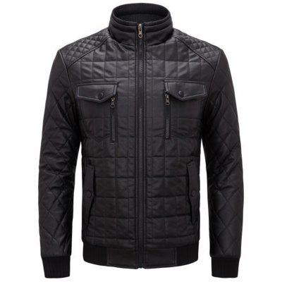 Grid and Checked Pattern Quilted Fake Leather Jacket