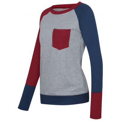 Color Block Raglan Sleeve Pocket T-shirtBlouses<br>Color Block Raglan Sleeve Pocket T-shirt<br><br>Collar: Round Neck<br>Material: Cotton, Polyester<br>Package Contents: 1 x T-shirt<br>Pattern Type: Others<br>Season: Fall, Spring<br>Shirt Length: Regular<br>Sleeve Length: Full<br>Sleeve Type: Raglan Sleeve<br>Style: Casual<br>Weight: 0.2750kg