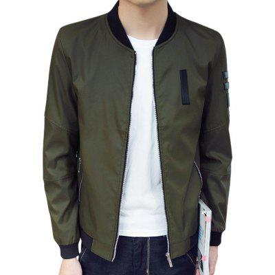Zip Pocket PU Patch Bomber Jacket