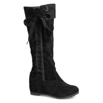 Buy BLACK Lace Up Flat Heel Mid Calf Boots for $43.08 in GearBest store