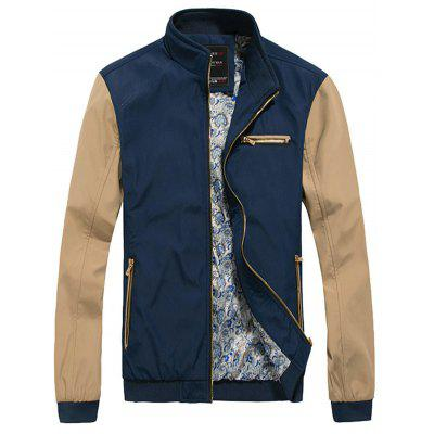 Zip Up Two Tone Casual Jacket