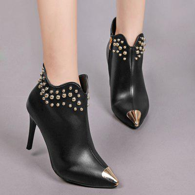 Rivets Pointed Toe Stiletto Heel Curve BootsWomens Boots<br>Rivets Pointed Toe Stiletto Heel Curve Boots<br><br>Boot Height: Ankle<br>Boot Type: Fashion Boots<br>Closure Type: Zip<br>Gender: For Women<br>Heel Height Range: High(3-3.99)<br>Heel Type: Stiletto Heel<br>Package Contents: 1 x Boots (pair)<br>Pattern Type: Solid<br>Season: Spring/Fall<br>Shoe Width: Medium(B/M)<br>Toe Shape: Pointed Toe<br>Upper Material: PU<br>Weight: 1.1200kg