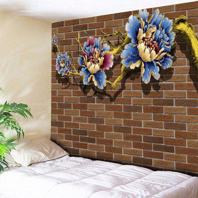 Flower Print Brick Wall Tapestry
