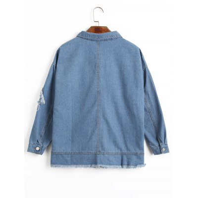 Frayed Hem Oversized Denim JacketJackets &amp; Coats<br>Frayed Hem Oversized Denim Jacket<br><br>Closure Type: Single Breasted<br>Clothes Type: Jackets<br>Collar: Turn-down Collar<br>Embellishment: Pockets<br>Material: Polyester, Cotton<br>Package Contents: 1 x Jacket<br>Pattern Type: Solid<br>Shirt Length: Regular<br>Sleeve Length: Full<br>Style: Streetwear<br>Type: Wide-waisted<br>Weight: 0.6900kg