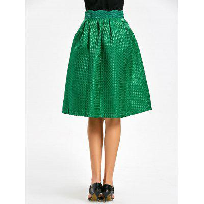 High Waisted Scalloped Flare SkirtSkirts<br>High Waisted Scalloped Flare Skirt<br><br>Length: Knee-Length<br>Material: Polyester<br>Package Contents: 1 x Skirt<br>Pattern Type: Solid<br>Silhouette: A-Line<br>Weight: 0.4800kg