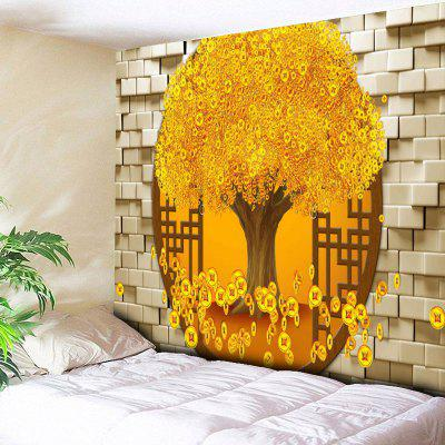 Copper Coin Money Tree Print Wall Tapestry