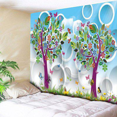 Cartoon Tree Circle Pattern Wall Art Tapestry