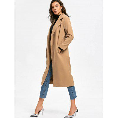 Lapel Collar Coat with PocketsJackets &amp; Coats<br>Lapel Collar Coat with Pockets<br><br>Collar: Lapel<br>Material: Polyester<br>Package Contents: 1 x Coat<br>Pattern Type: Solid<br>Shirt Length: X-Long<br>Sleeve Length: Full<br>Style: Casual<br>Type: Wide-waisted<br>Weight: 0.8500kg