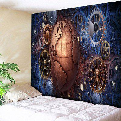 Gear Wheel and Globe Print Vintage Wall Tapestry