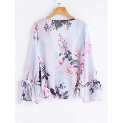 Wrap TopBlouses<br>Wrap Top<br><br>Collar: Plunging Neck<br>Material: Cotton, Polyester<br>Occasion: Casual, Birthday, Cocktail &amp; Party<br>Package Contents: 1 x Top<br>Pattern Type: Floral<br>Seasons: Autumn<br>Shirt Length: Regular<br>Sleeve Length: Full<br>Style: Sexy<br>Weight: 0.2200kg