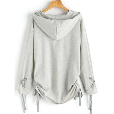 Lace Up Ruched HoodieSweatshirts &amp; Hoodies<br>Lace Up Ruched Hoodie<br><br>Clothing Style: Hoodie<br>Material: Polyester<br>Package Contents: 1 x Hoodie<br>Pattern Style: Solid<br>Shirt Length: Regular<br>Sleeve Length: Full<br>Weight: 0.5350kg