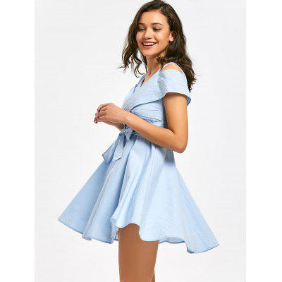 Self Tie Bowknot Cold Shoulder Mini DressMini Dresses<br>Self Tie Bowknot Cold Shoulder Mini Dress<br><br>Dresses Length: Mini<br>Material: Polyester<br>Neckline: V-Neck<br>Package Contents: 1 x Dress<br>Pattern Type: Solid Color<br>Season: Fall<br>Sleeve Length: Short Sleeves<br>Weight: 0.4000kg<br>With Belt: No