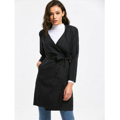 Pockets Draped Belted Trench Coat