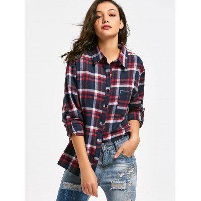 Checked  Side Slit Pocket ShirtBlouses<br>Checked  Side Slit Pocket Shirt<br><br>Collar: Shirt Collar<br>Material: Polyester<br>Occasion: Casual<br>Package Contents: 1 x Shirt<br>Pattern Type: Plaid<br>Shirt Length: Long<br>Sleeve Length: Full<br>Style: Casual<br>Weight: 0.3800kg