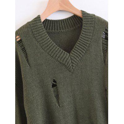 Destroyed V Neck Oversized SweaterSweaters &amp; Cardigans<br>Destroyed V Neck Oversized Sweater<br><br>Collar: V-Neck<br>Material: Acrylic, Cotton, Polyester<br>Package Contents: 1 x Sweater<br>Pattern Type: Solid<br>Sleeve Length: Full<br>Style: Fashion<br>Type: Pullovers<br>Weight: 0.5200kg