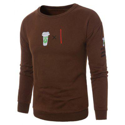 Crew Neck Coffee Graphic Embroidered Fleece Sweatshirt