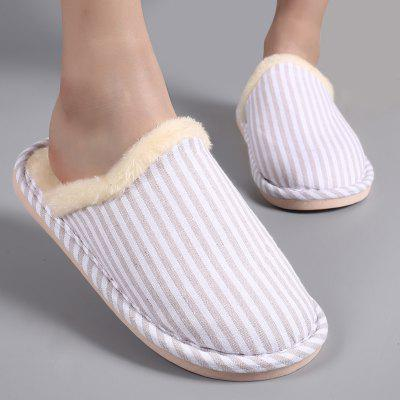 "Furry Padded Stripe Pattern Bedroom SlippersSlippers &amp; Flip-Flops<br>Furry Padded Stripe Pattern Bedroom Slippers<br><br>Gender: For Women<br>Heel Height Range: Flat(0-0.5"")<br>Heel Type: Flat Heel<br>Package Contents: 1 x Slippers (pair)<br>Pattern Type: Striped<br>Season: Spring/Fall, Winter<br>Shoe Width: Medium(B/M)<br>Slipper Type: Indoor<br>Style: Concise<br>Upper Material: Cotton Fabric,Fur<br>Weight: 0.4500kg"