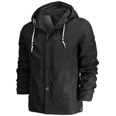 Hooded Drawstring Mens Zippered Jacket