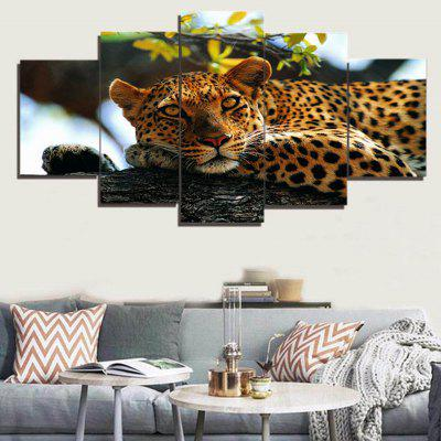 Tree and Leopard Pattern Unframed Canvas Paintings