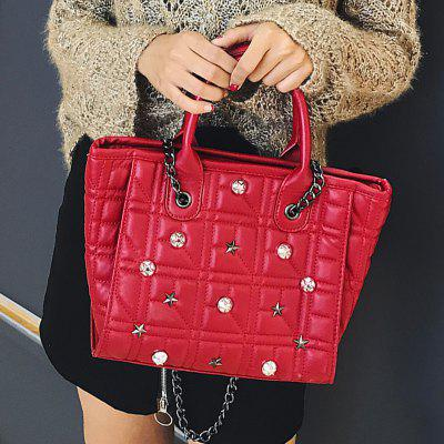 Rivets Quilted Chain HandbagHandbags<br>Rivets Quilted Chain Handbag<br><br>Closure Type: Zipper<br>Gender: For Women<br>Handbag Size: Small(20-30cm)<br>Handbag Type: Totes<br>Main Material: PU<br>Occasion: Versatile<br>Package Contents: 1 x Handbag<br>Pattern Type: Plaid<br>Size(CM)(L*W*H): 25*10*22<br>Style: Fashion<br>Weight: 0.6000kg