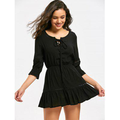 Hollow Out Lace Up Mini Flare Dress
