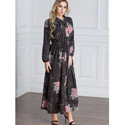 Tie Collar Floral Maxi DressMaxi Dresses<br>Tie Collar Floral Maxi Dress<br><br>Dresses Length: Ankle-Length<br>Material: Polyester, Spandex<br>Neckline: Bow<br>Occasion: Casual<br>Package Contents: 1 x Dress<br>Pattern Type: Floral<br>Season: Fall<br>Sleeve Length: Long Sleeves<br>Style: A Line<br>Weight: 0.7100kg<br>With Belt: No