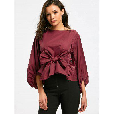 Buy DEEP RED Self Tie Bowknot Puff Sleeve Blouse for $20.97 in GearBest store