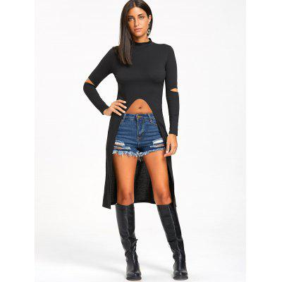 Halloween Ripped Elbow Dip Hem Longline TopBlouses<br>Halloween Ripped Elbow Dip Hem Longline Top<br><br>Collar: Mock Neck<br>Material: Polyester, Spandex<br>Package Contents: 1 x Top<br>Pattern Type: Solid Color<br>Season: Fall, Spring<br>Shirt Length: Long<br>Sleeve Length: Full<br>Style: Novelty<br>Weight: 0.3000kg
