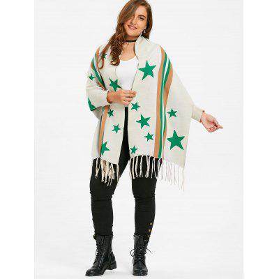 Star Striped Plus Size Fringe Sweater CardiganPlus Size<br>Star Striped Plus Size Fringe Sweater Cardigan<br><br>Collar: Collarless<br>Material: Polyester, Spandex<br>Package Contents: 1 x Cardigan<br>Pattern Type: Striped, Star<br>Season: Winter, Fall<br>Sleeve Length: Full<br>Style: Fashion<br>Type: Cardigans<br>Weight: 0.6000kg
