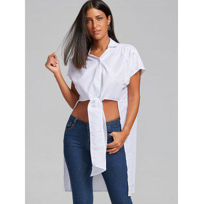 Asymmetric Bowknot High Low BlouseBlouses<br>Asymmetric Bowknot High Low Blouse<br><br>Collar: Shirt Collar<br>Material: Polyester<br>Package Contents: 1 x Blouse<br>Pattern Type: Solid<br>Season: Spring, Summer<br>Shirt Length: Long<br>Sleeve Length: Short<br>Style: Fashion<br>Weight: 0.2700kg
